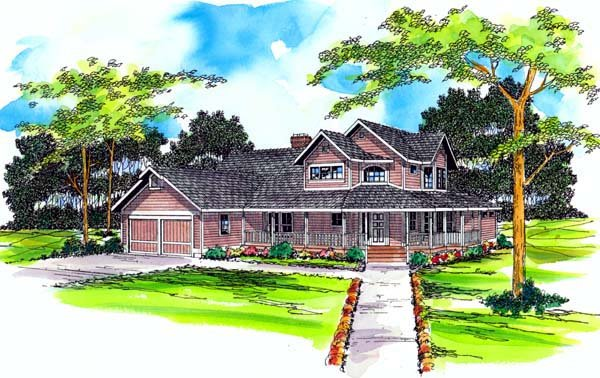 Country, Farmhouse House Plan 69242 with 3 Beds, 2.5 Baths, 2 Car Garage Elevation