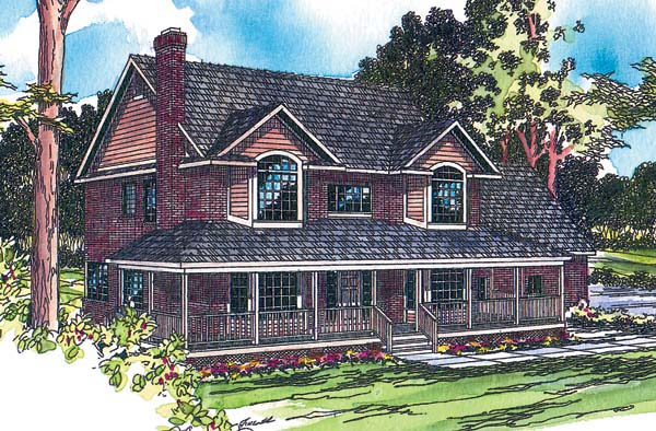 Country, Farmhouse House Plan 69250 with 5 Beds, 2.5 Baths, 2 Car Garage Elevation