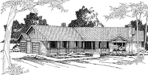 One-Story, Ranch House Plan 69260 with 4 Beds, 3 Baths, 2 Car Garage Front Elevation