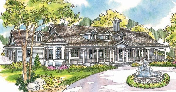 Country, Florida, Ranch House Plan 69296 with 4 Beds, 6 Baths, 3 Car Garage Elevation