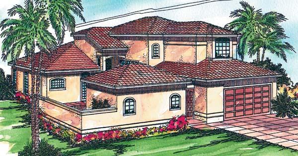 Florida, Mediterranean House Plan 69315 with 4 Beds, 3.5 Baths, 2 Car Garage Elevation