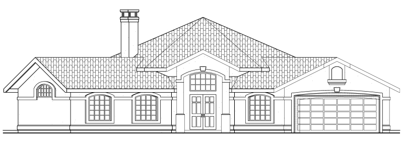 Mediterranean, One-Story, Ranch, Southwest House Plan 69339 with 3 Beds, 2 Baths, 2 Car Garage Rear Elevation