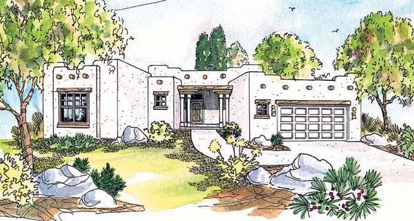 Santa Fe, Southwest House Plan 69352 with 3 Beds, 2 Baths, 2 Car Garage Front Elevation