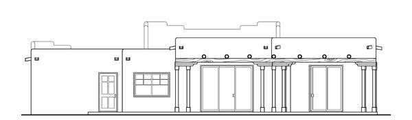 Santa Fe, Southwest House Plan 69352 with 3 Beds, 2 Baths, 2 Car Garage Rear Elevation