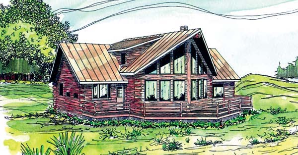 Contemporary, Log House Plan 69362 with 3 Beds, 2.5 Baths Front Elevation