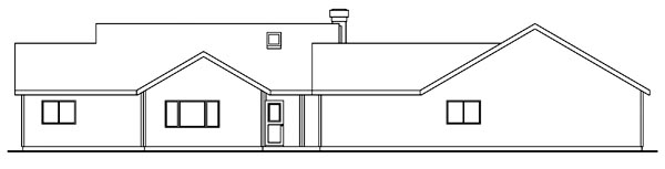 Traditional House Plan 69463 with 3 Beds, 3 Baths, 3 Car Garage Rear Elevation