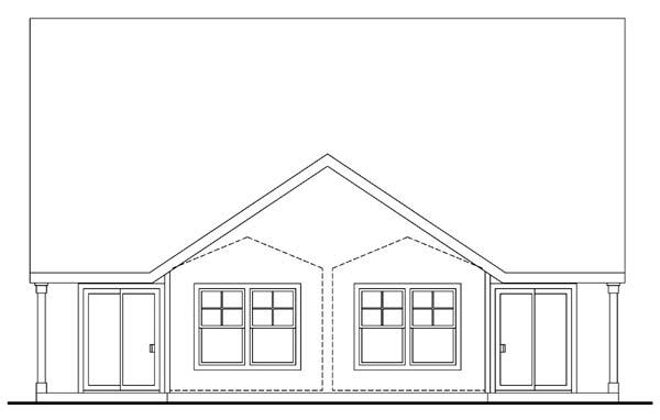 Craftsman, Narrow Lot Multi-Family Plan 69645 with 6 Beds, 4 Baths, 2 Car Garage Rear Elevation