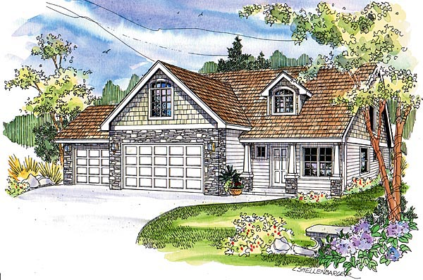 Country, Craftsman, European House Plan 69787 with 3 Beds, 3 Baths, 3 Car Garage Elevation
