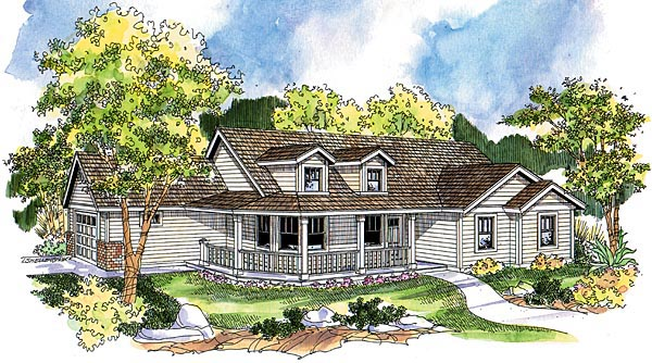 Country, Farmhouse, One-Story, Ranch House Plan 69790 with 3 Beds, 2 Baths, 2 Car Garage Elevation