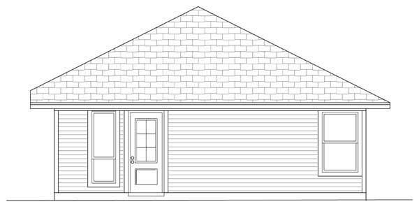 Craftsman House Plan 69909 with 3 Beds, 2 Baths Rear Elevation