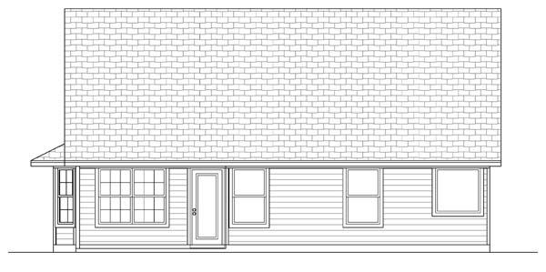 Craftsman House Plan 69912 with 3 Beds, 2 Baths, 2 Car Garage Rear Elevation