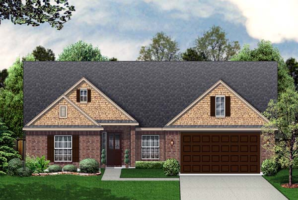 Traditional House Plan 69916 with 3 Beds, 2 Baths, 2 Car Garage Front Elevation