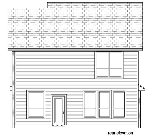 Cottage, Craftsman House Plan 69974 with 3 Beds, 3 Baths, 2 Car Garage Rear Elevation