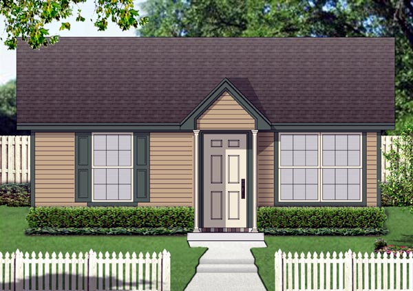 Cottage House Plan 69979 with 1 Beds, 1 Baths Elevation
