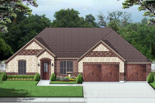 European, Traditional House Plan 69999 with 3 Beds, 3 Baths, 3 Car Garage Elevation