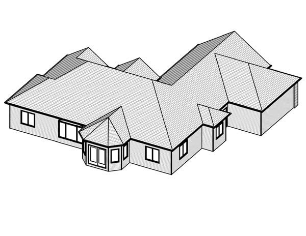 Traditional House Plan 70112 with 3 Beds, 3 Baths, 3 Car Garage Rear Elevation