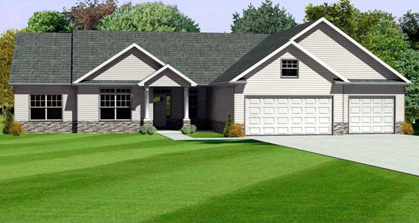 Traditional House Plan 70165 with 3 Beds, 3 Baths, 3 Car Garage Elevation