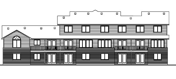 European Multi-Family Plan 70454 with 11 Beds, 8 Baths, 4 Car Garage Rear Elevation