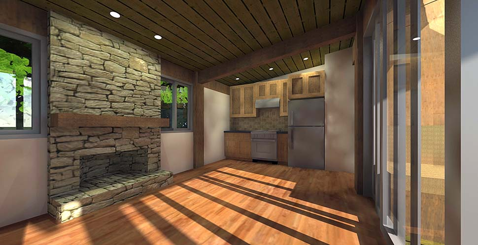 Cabin House Plan 70800 with 1 Beds, 1 Baths Picture 2