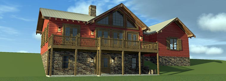 House Plan 70810 with 3 Beds, 4 Baths, 2 Car Garage Rear Elevation