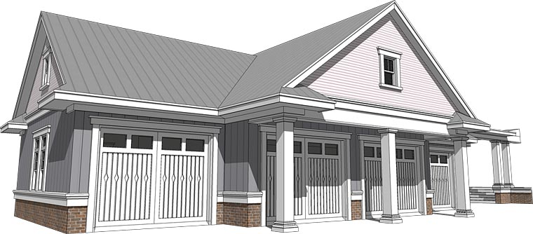 Cottage, Craftsman, Traditional 4 Car Garage Plan 70818 Elevation