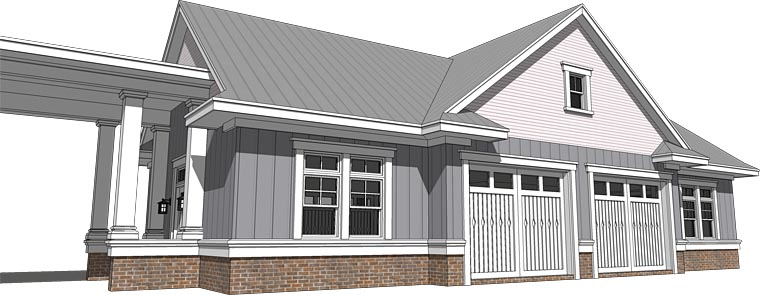 Cottage, Craftsman, Traditional 4 Car Garage Plan 70818 Rear Elevation
