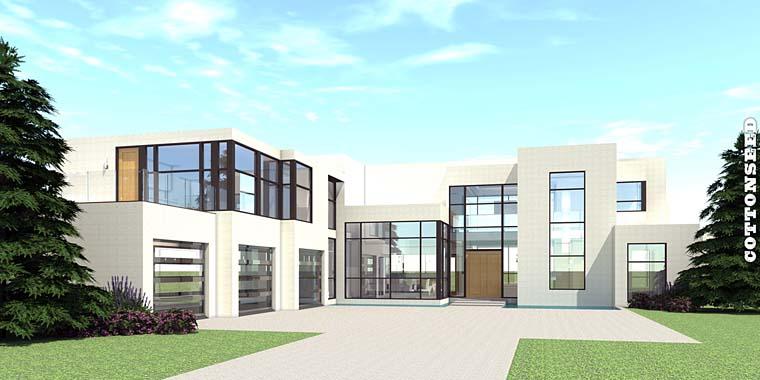 Modern House Plan 70819 with 5 Beds, 5 Baths, 3 Car Garage Elevation