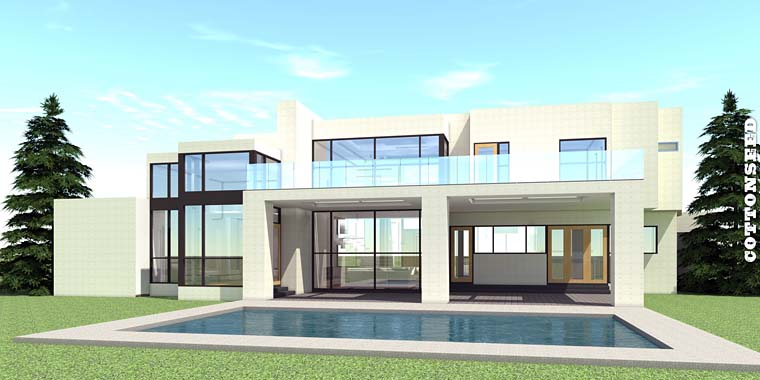 Modern House Plan 70819 with 5 Beds, 5 Baths, 3 Car Garage Rear Elevation