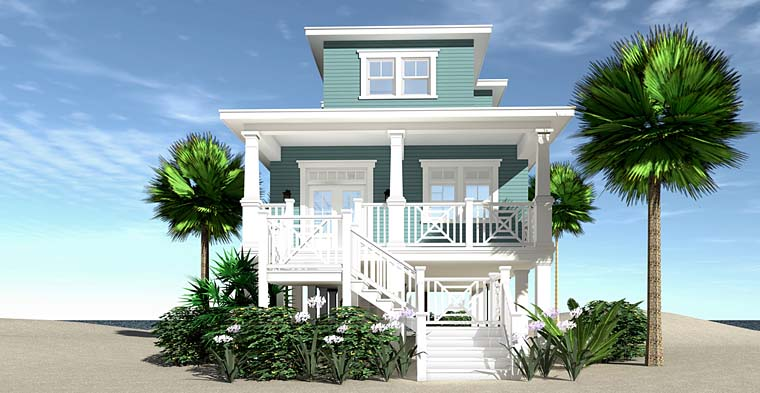 Coastal, Contemporary, Cottage, Craftsman, Southern House Plan 70824 with 3 Beds, 4 Baths Front Elevation