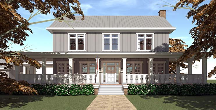 Country, Farmhouse, Southern, Traditional House Plan 70831 with 5 Beds, 5 Baths, 4 Car Garage Elevation