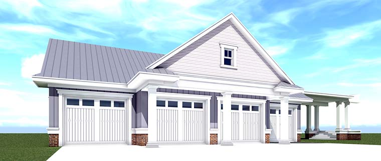 Country, Farmhouse, Southern, Traditional 4 Car Garage Plan 70832 Elevation