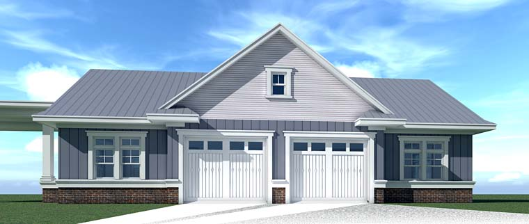 Country, Farmhouse, Southern, Traditional 4 Car Garage Plan 70832 Rear Elevation