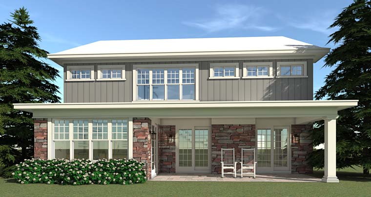 Farmhouse, Traditional House Plan 70833 with 5 Beds, 4 Baths, 3 Car Garage Rear Elevation