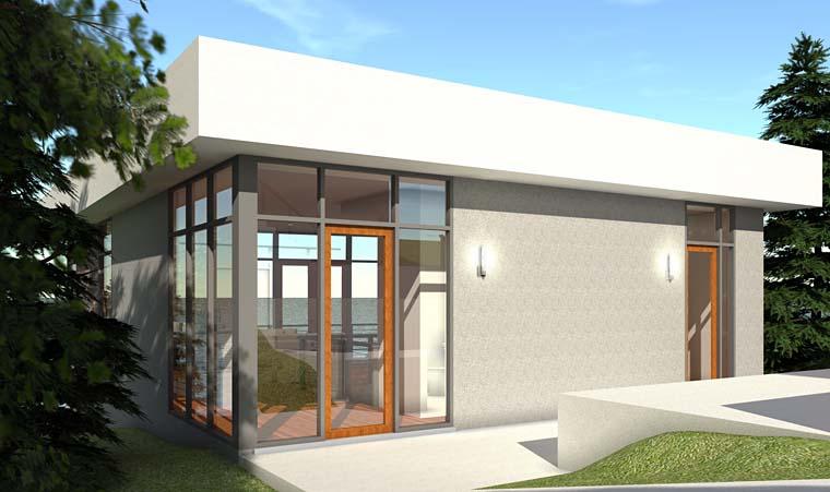 Modern House Plan 70843 with 2 Beds, 3 Baths, 2 Car Garage Rear Elevation