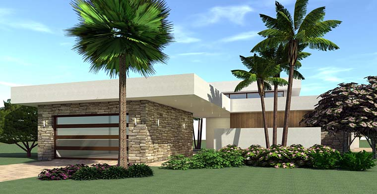 Modern House Plan 70844 with 4 Beds, 2 Baths, 2 Car Garage Front Elevation