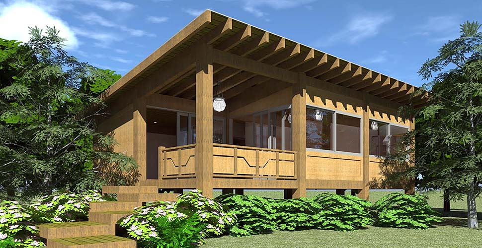 Cabin, Contemporary, Modern, Ranch House Plan 70849 with 2 Beds, 1 Baths Elevation