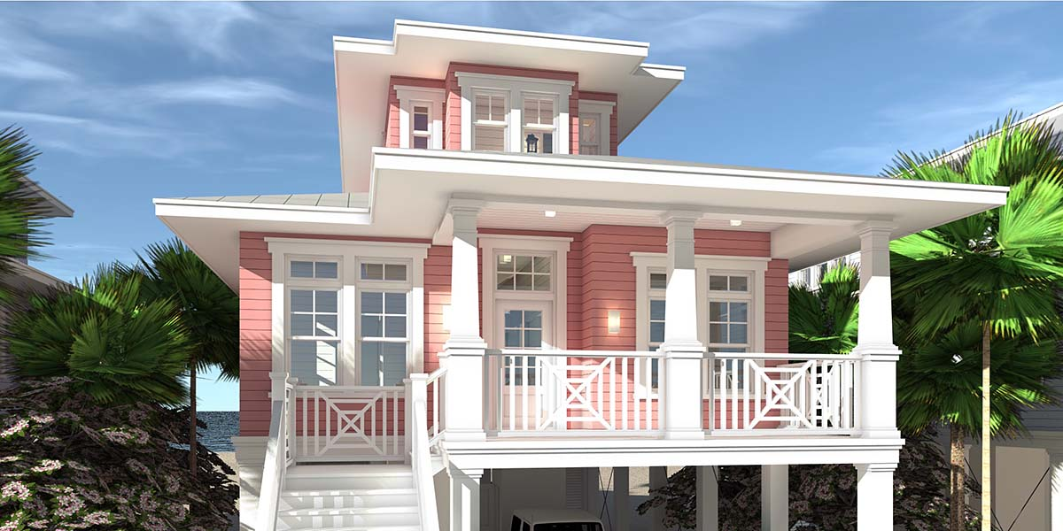 Coastal, Contemporary, Southern House Plan 70852 with 3 Beds, 2 Baths, 2 Car Garage Front Elevation