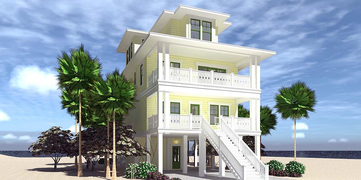 Coastal House Plan 70853 with 4 Beds, 4 Baths, 4 Car Garage Front Elevation