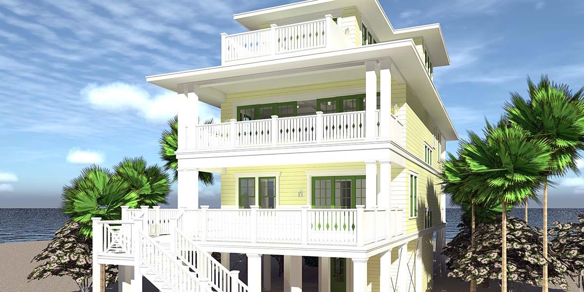 Coastal House Plan 70853 with 4 Beds, 4 Baths, 4 Car Garage Rear Elevation