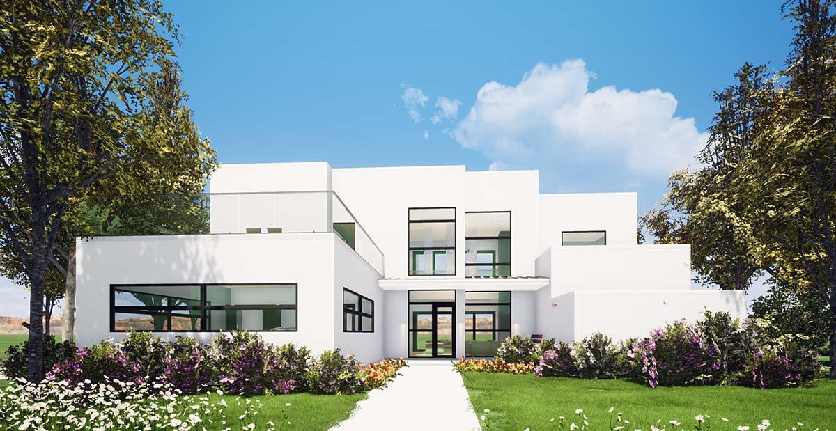 Coastal, Contemporary, Modern House Plan 70854 with 4 Beds, 4 Baths, 2 Car Garage Elevation