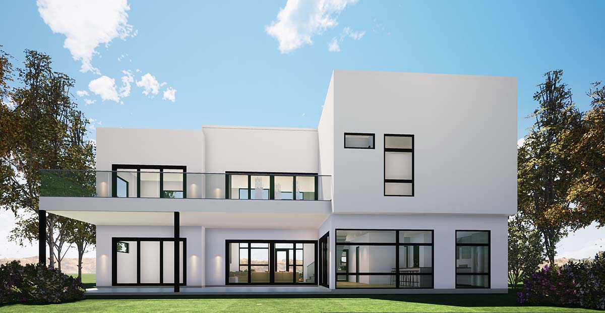 Coastal, Contemporary, Modern House Plan 70854 with 4 Beds, 4 Baths, 2 Car Garage Rear Elevation