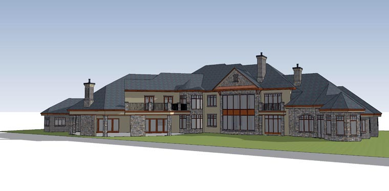 Traditional House Plan 71513 with 6 Beds, 8 Baths, 4 Car Garage Rear Elevation