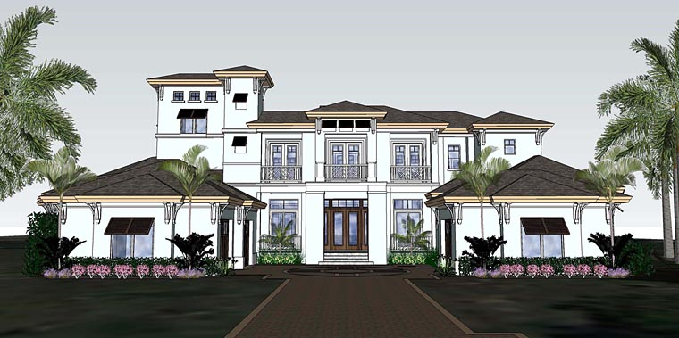 Florida, Mediterranean House Plan 71529 with 4 Beds, 6 Baths, 3 Car Garage Elevation