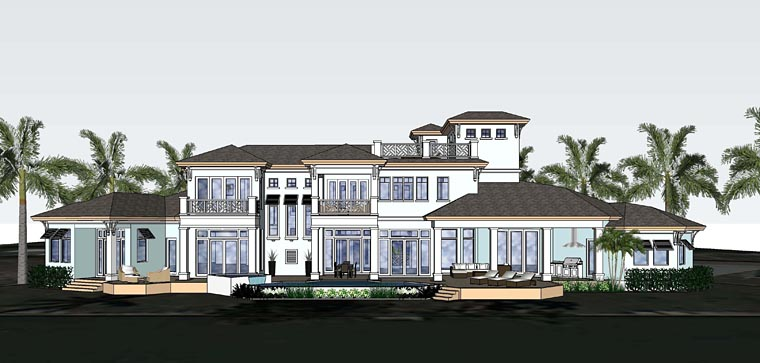 Florida, Mediterranean House Plan 71529 with 4 Beds, 6 Baths, 3 Car Garage Rear Elevation