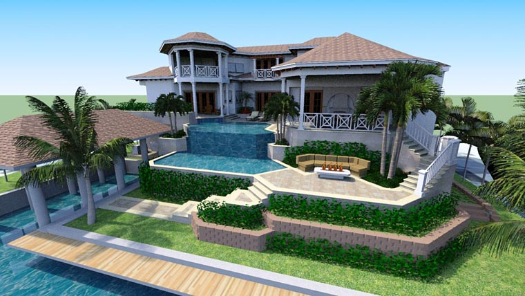 Florida, Mediterranean House Plan 71530 with 4 Beds, 8 Baths, 6 Car Garage Rear Elevation