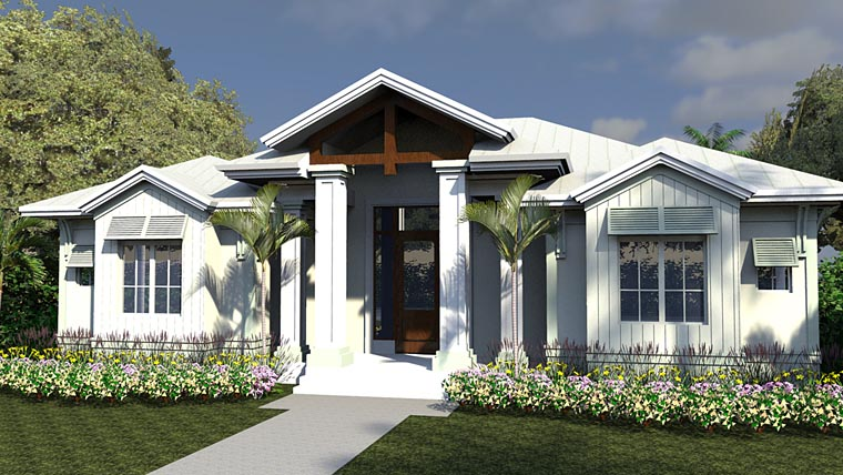 Coastal, Colonial, Florida House Plan 71550 with 5 Beds, 6 Baths, 3 Car Garage Front Elevation