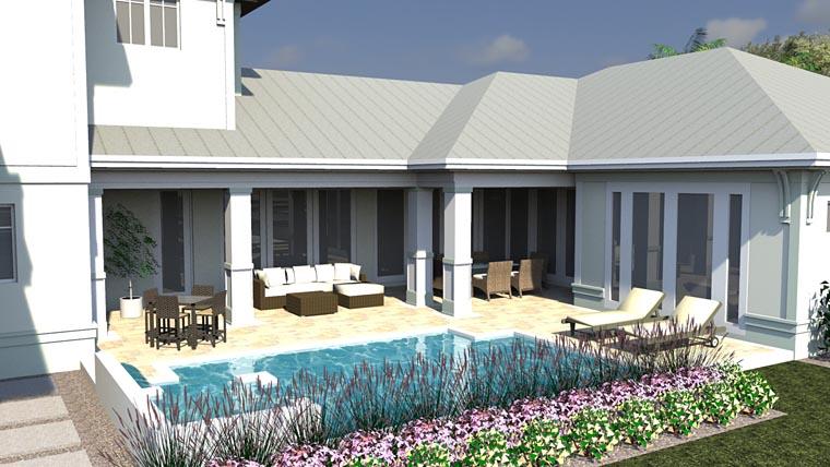 Coastal, Colonial, Florida House Plan 71550 with 5 Beds, 6 Baths, 3 Car Garage Rear Elevation