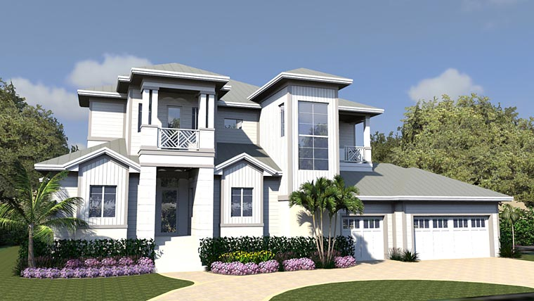 Contemporary House Plan 71553 with 4 Beds, 5 Baths, 3 Car Garage Front Elevation