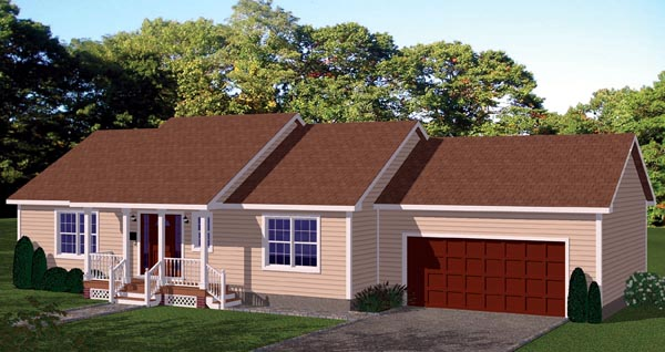 House Plan 71905 with 2 Beds, 2 Baths, 2 Car Garage Elevation