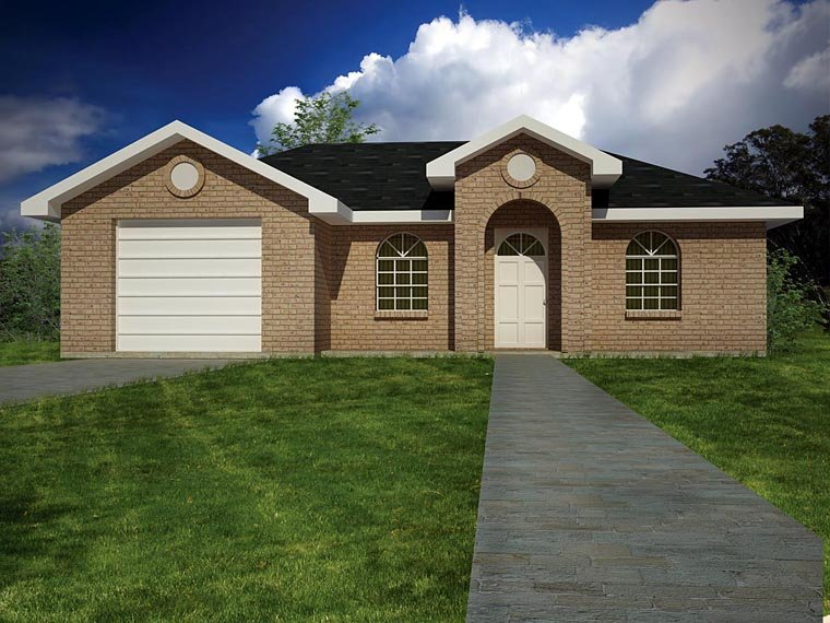 European, Ranch House Plan 71930 with 3 Beds, 2 Baths, 1 Car Garage Front Elevation